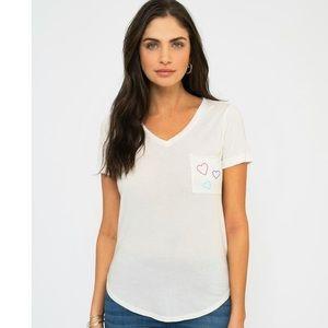 Sol Angeles Tres Hearts Torque Tee Shirt Small